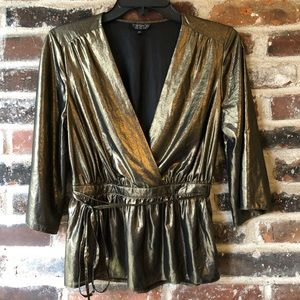 Topshop - NWOT Metallic Gold Deep V Neck Top